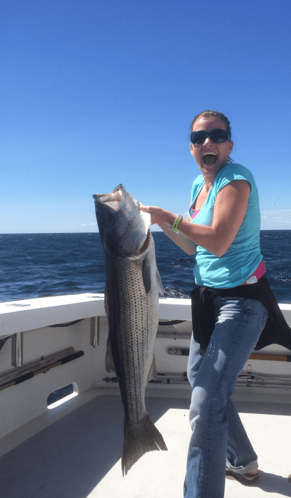 striped bass, fishing Gloucester, MA monster bass, karen lynn charters